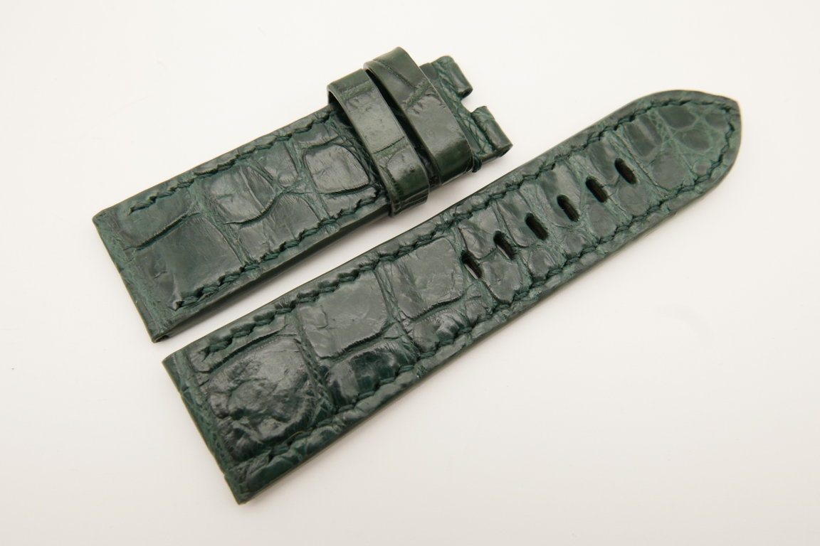 26mm/24mm Dark Green Genuine CROCODILE Skin Leather Watch Strap For Panerai #WT4931