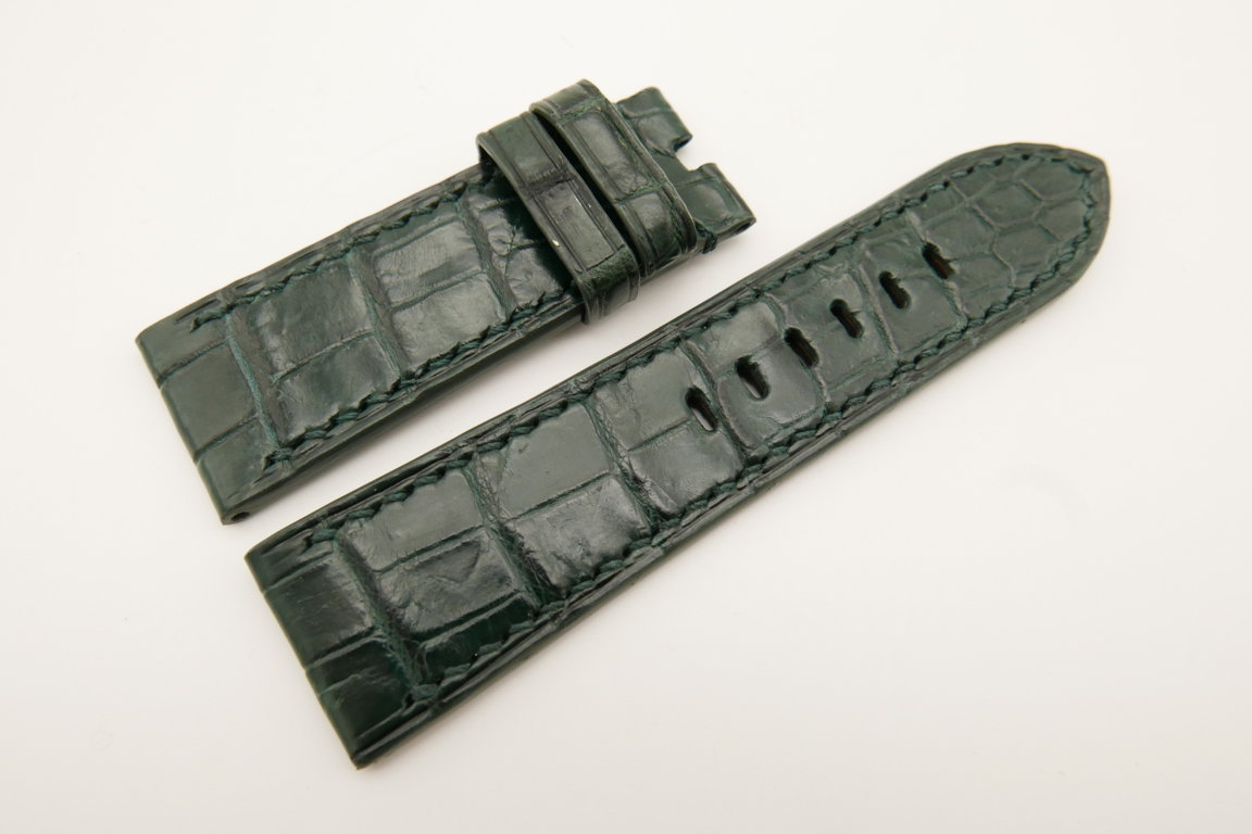 26mm/24mm Dark Green Genuine CROCODILE Skin Leather Watch Strap For Panerai #WT4932