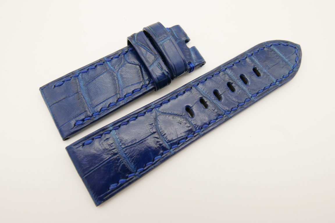 26mm/24mm Blue Genuine CROCODILE Skin Leather Watch Strap For Panerai #WT4934