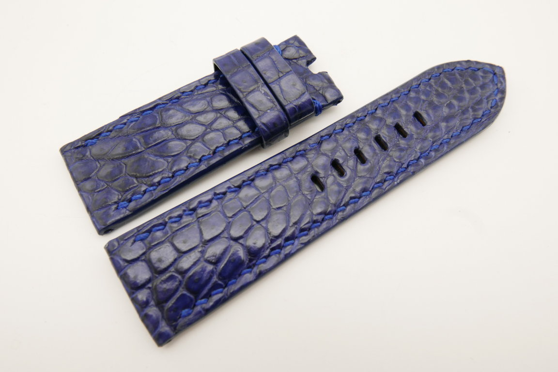26mm/24mm Dark Navy Blue Genuine CROCODILE Skin Leather Watch Strap For Panerai #WT4936