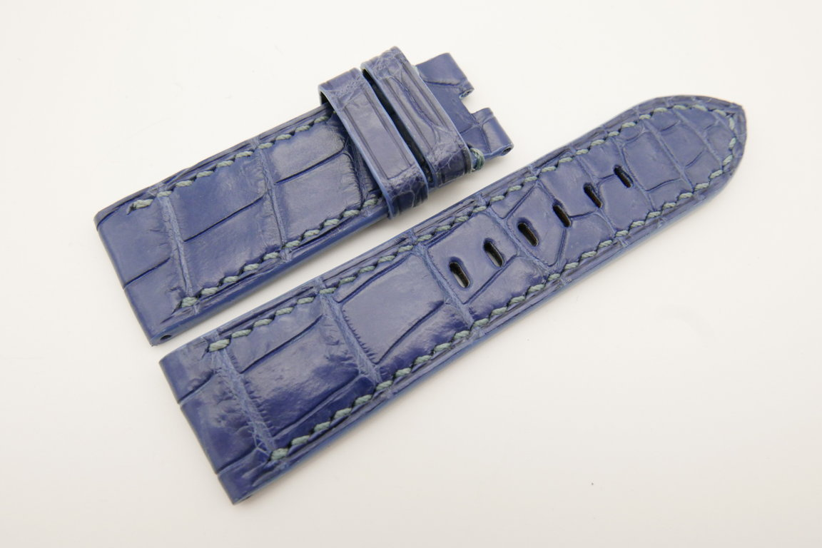 26mm/24mm Light Blue Genuine CROCODILE Skin Leather Watch Strap For Panerai #WT4938