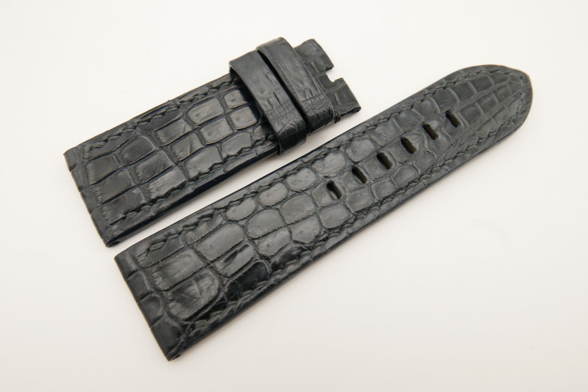 26mm/24mm Blue Gray Genuine CROCODILE Skin Leather Watch Strap For Panerai #WT4942