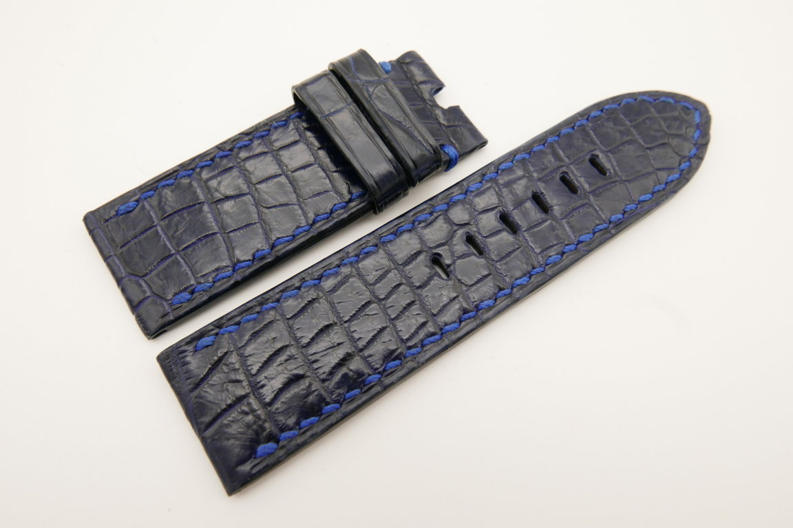 26mm/26mm Dark Navy Blue Genuine CROCODILE Skin Leather Watch Strap For Panerai #WT4943