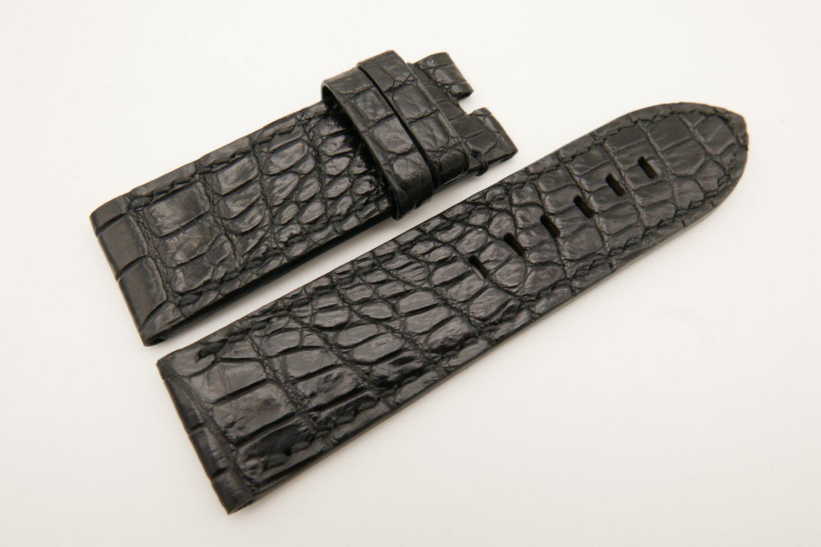 26mm/26mm Black Genuine CROCODILE Skin Leather Watch Strap For Panerai #WT4944