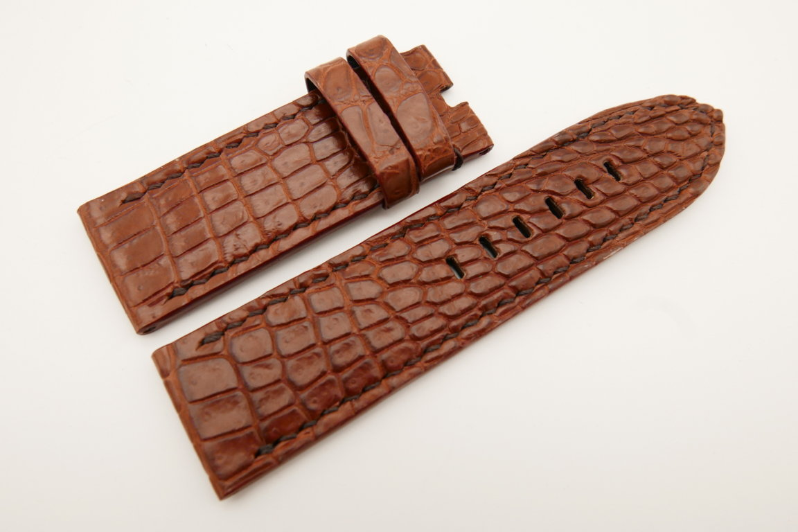 26mm/26mm Red Brown Genuine CROCODILE Skin Leather Watch Strap For Panerai #WT4945