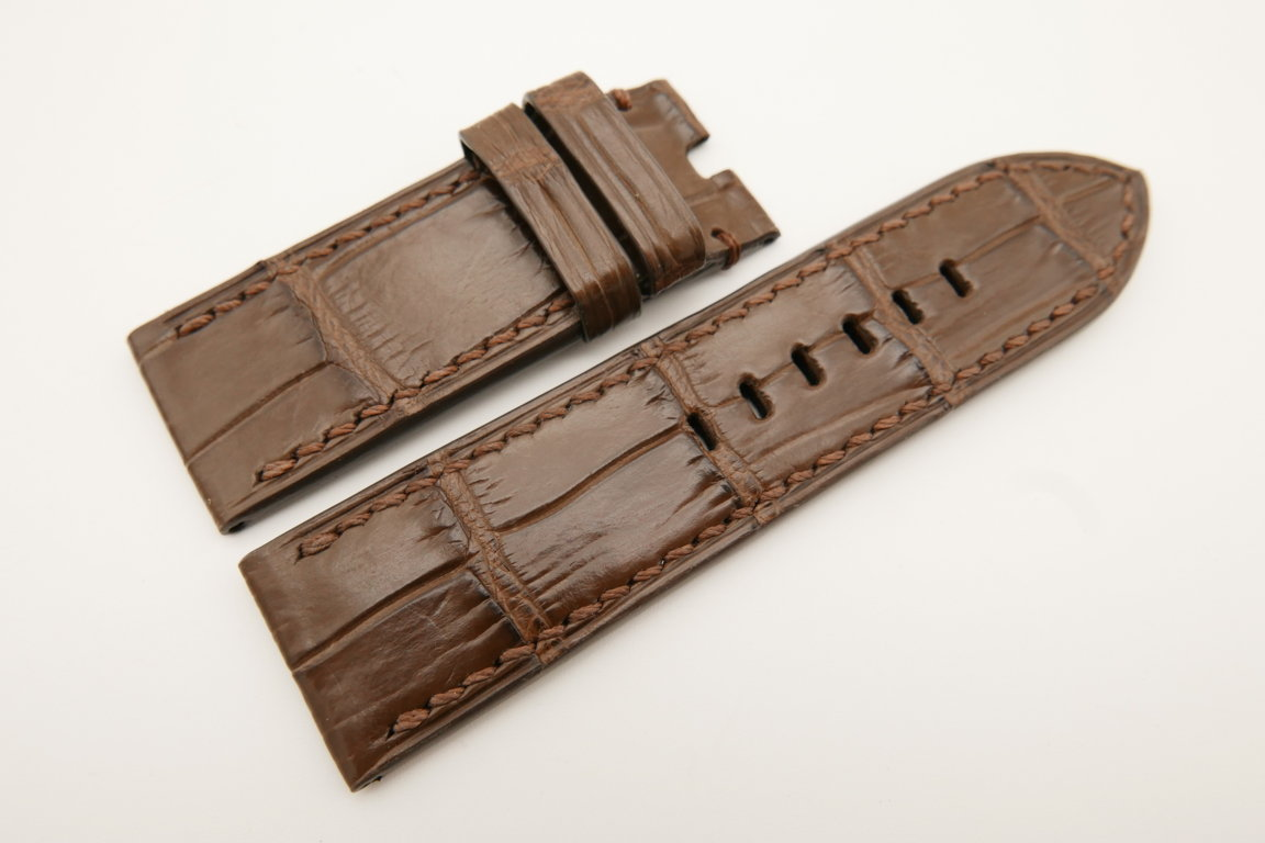 26mm/26mm Brown Genuine CROCODILE Skin Leather Watch Strap For Panerai #WT4946