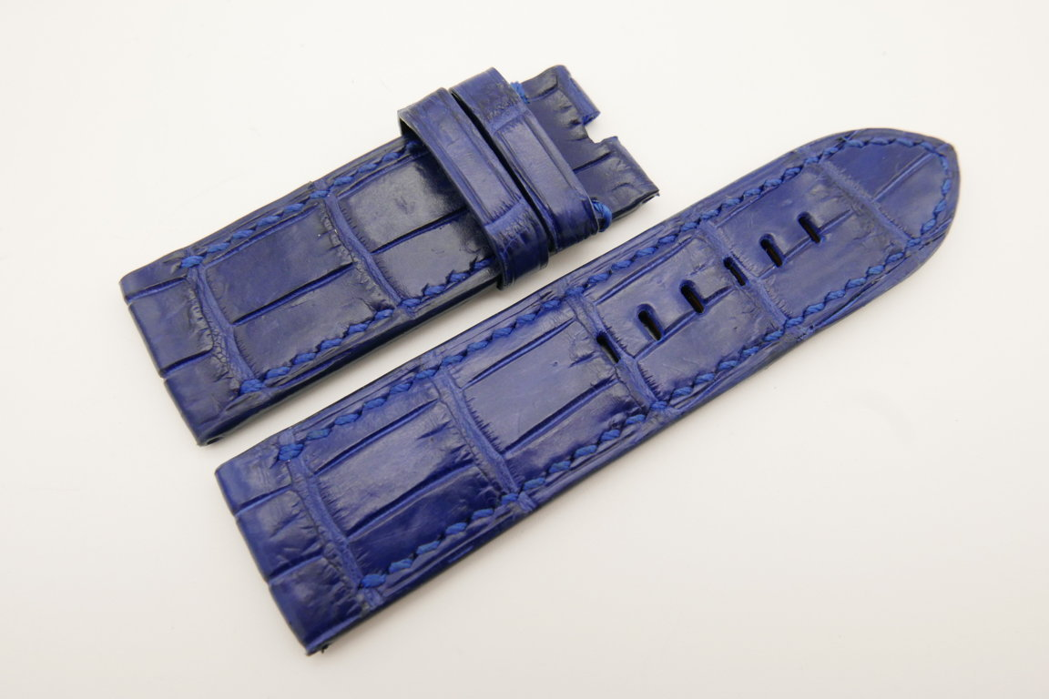 26mm/26mm Blue Genuine CROCODILE Skin Leather Watch Strap For Panerai #WT4950