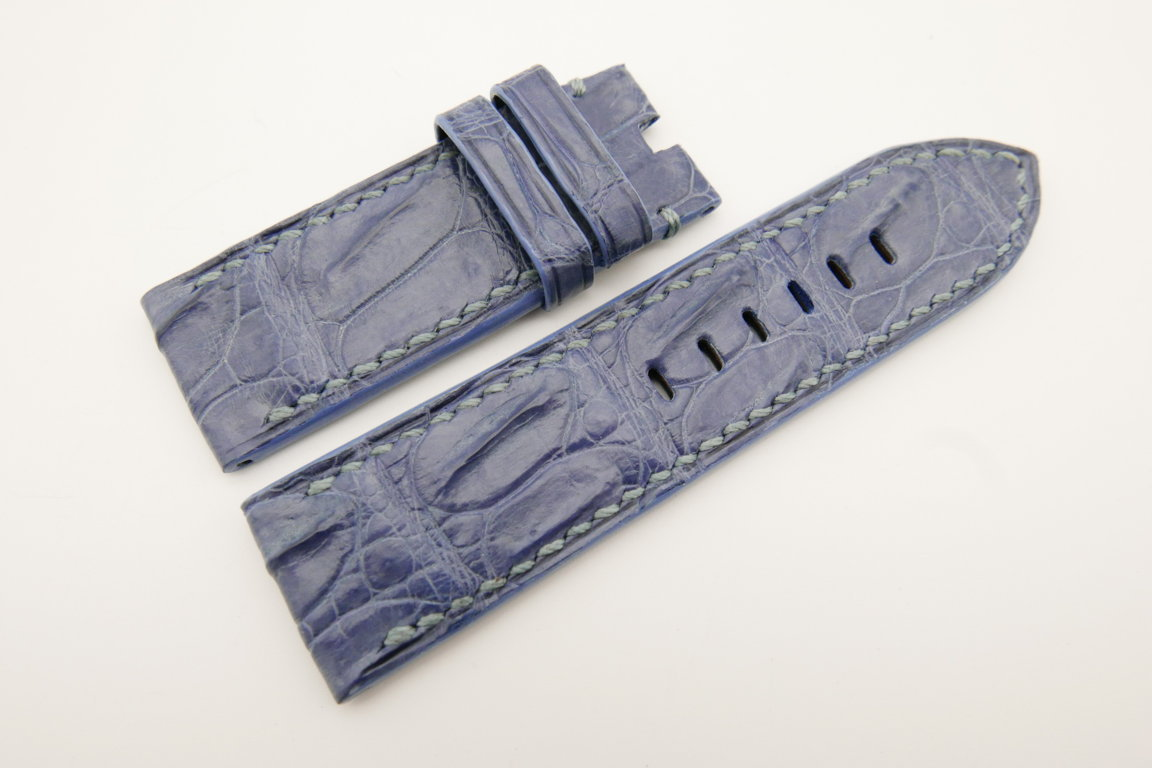 26mm/26mm Light Blue Genuine CROCODILE Skin Leather Watch Strap For Panerai #WT4951