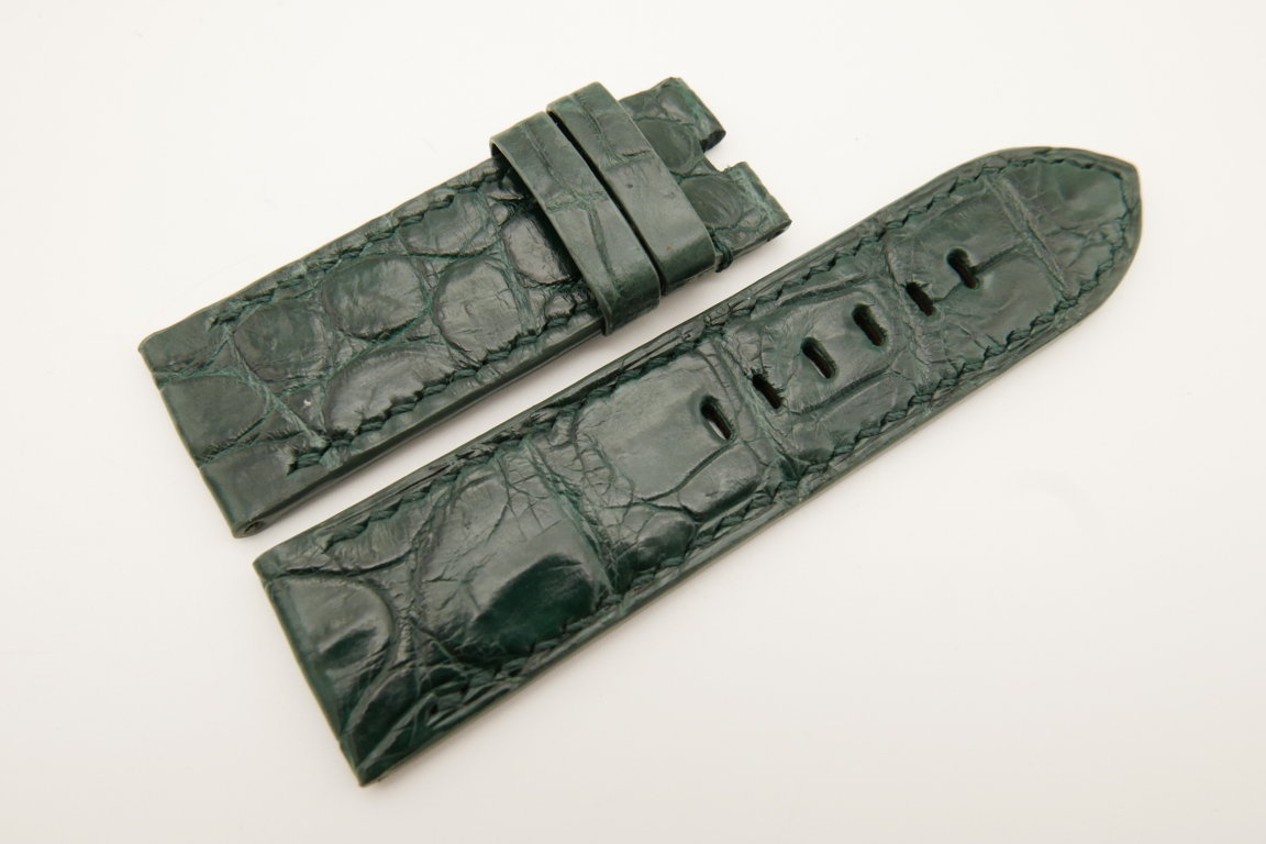 26mm/26mm Green Genuine CROCODILE Skin Leather Watch Strap For Panerai #WT4953
