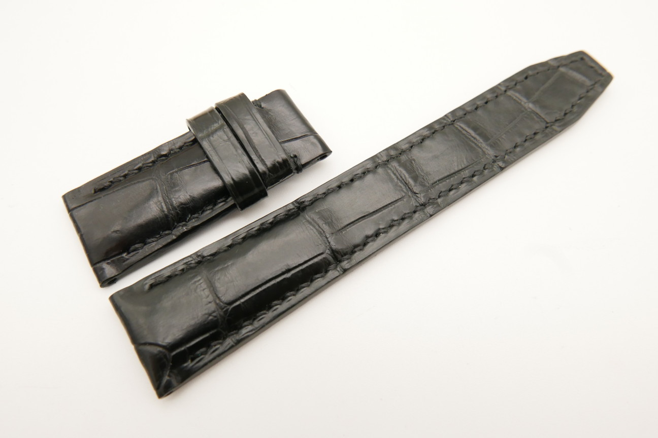 20mm/18mm Black Genuine CROCODILE Skin Leather Deployment Strap for IWC #WT4992