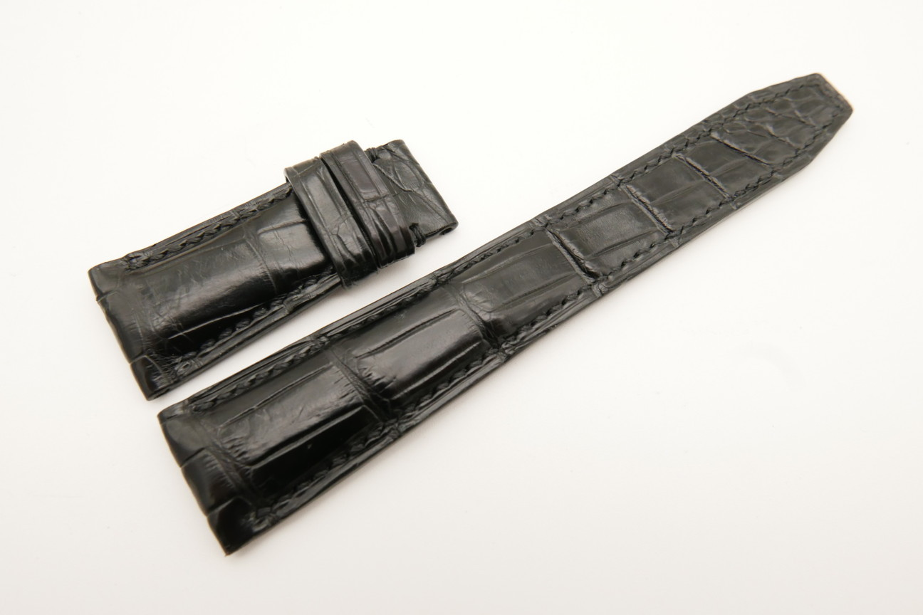 22mm/18mm Black Genuine CROCODILE Skin Leather Deployment Strap For IWC #WT4994