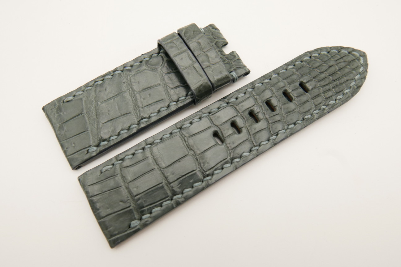 26mm/26mm Gray Genuine CROCODILE Skin Leather Watch Strap For Panerai #WT4958