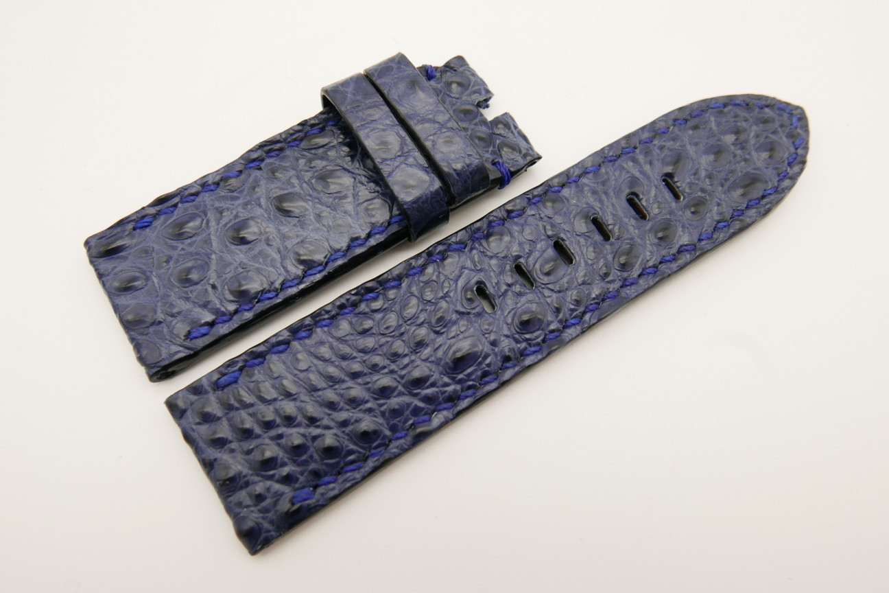 26mm/26mm Dark Navy Blue Genuine CROCODILE Skin Leather Watch Strap For Panerai #WT4960