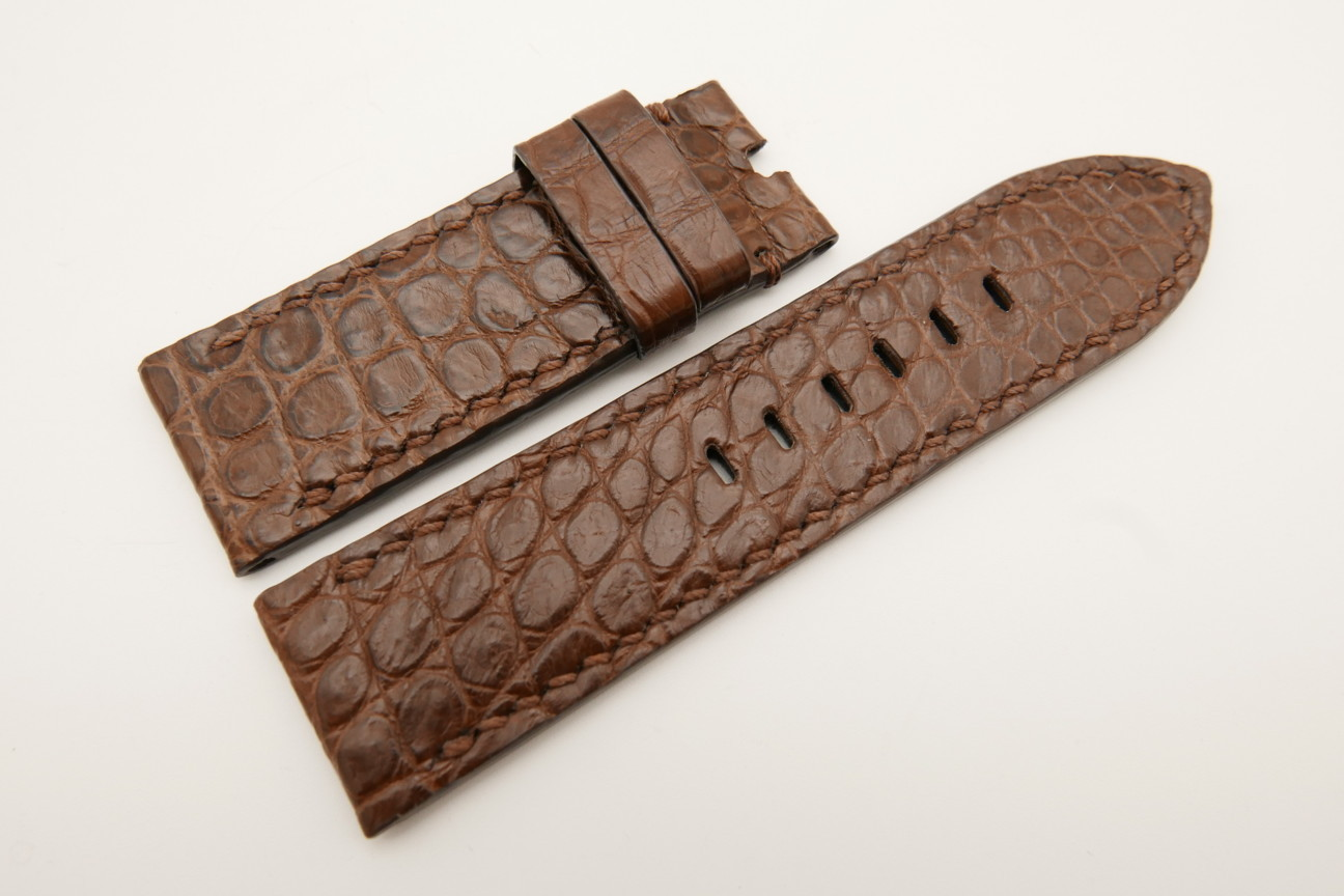 26mm/26mm Brown Genuine CROCODILE Skin Leather Watch Strap For Panerai #WT4966