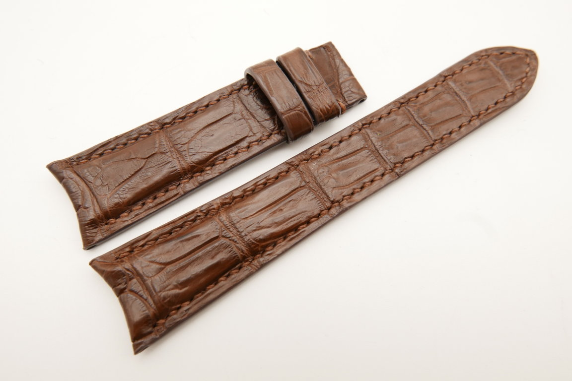21mm/18mm Brown Genuine CROCODILE Skin Leather Curved End Watch Strap For JLC #WT5022