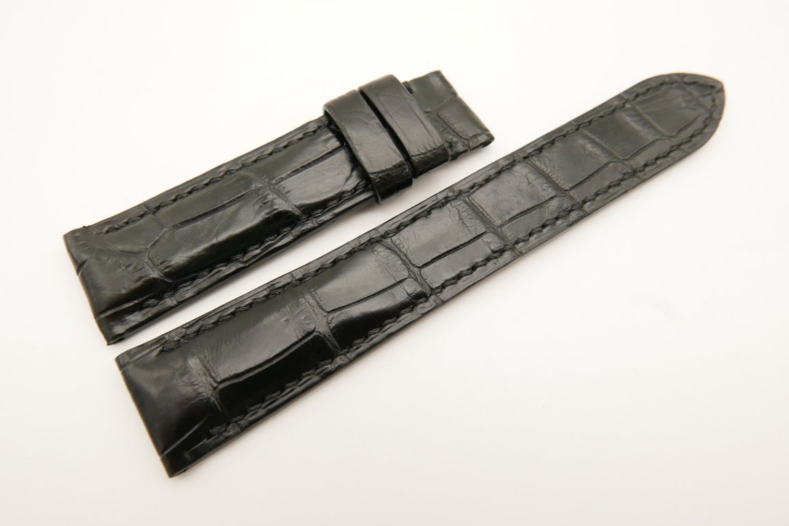 20mm/18mm Black Genuine Crocodile Skin Leather Watch Strap #WT5024