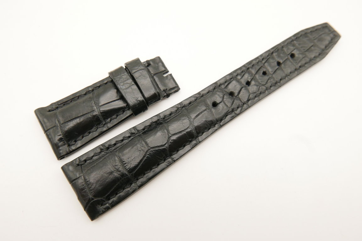 22mm/18mm Black Genuine CROCODILE Skin Leather Deployment Strap For IWC #WT4996