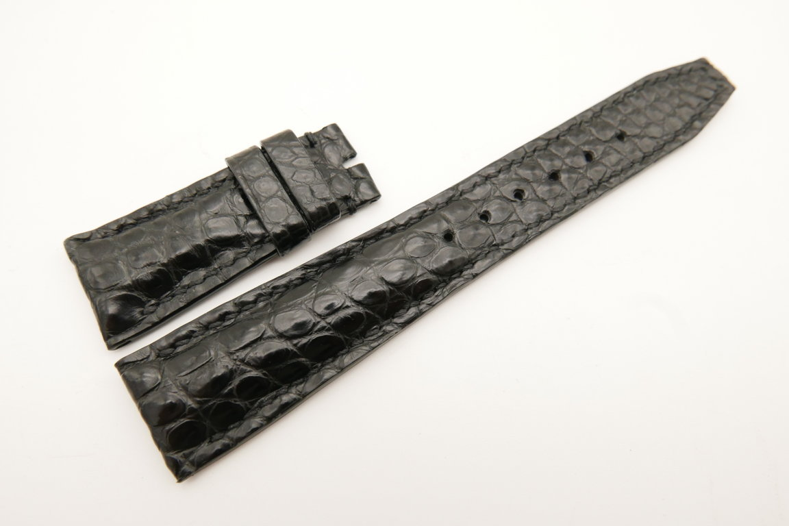 22mm/18mm Black Genuine CROCODILE Skin Leather Deployment Strap For IWC #WT4997
