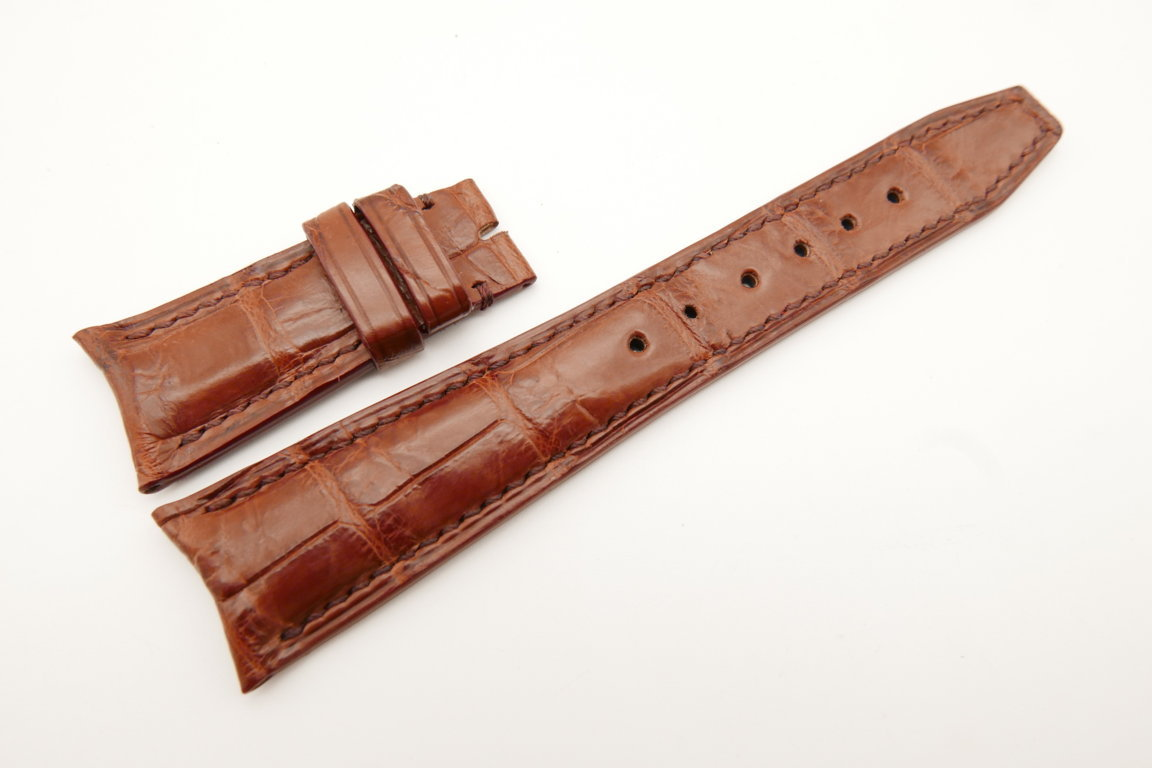 22mm/18mm Red Brown Genuine CROCODILE Skin Leather Curved End Deployment Strap For IWC #WT5013