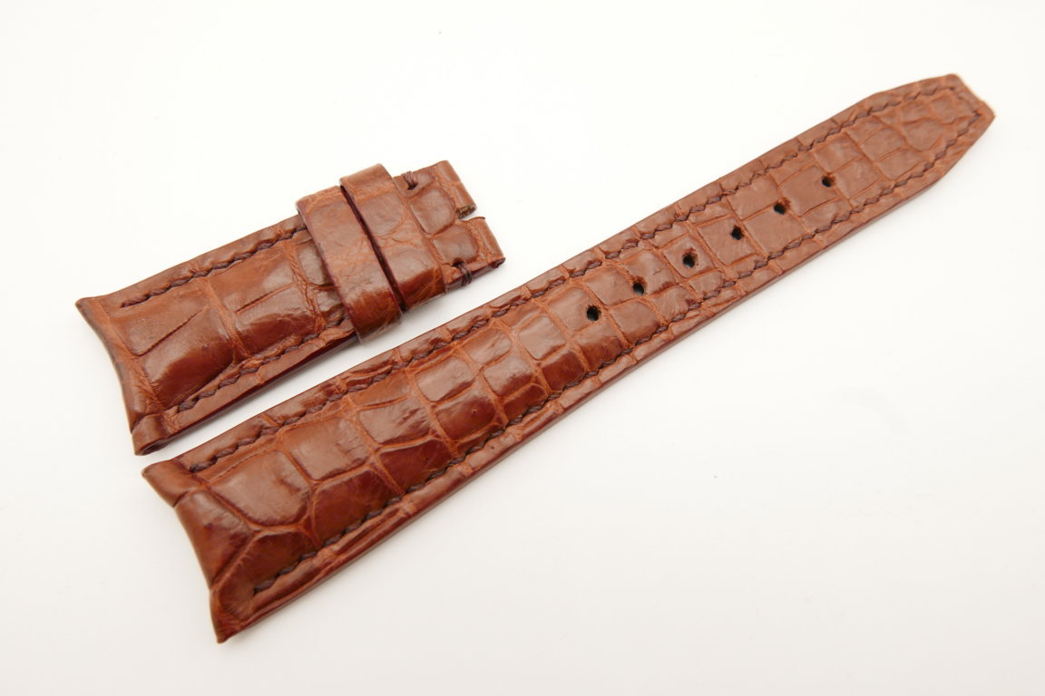 22mm/18mm Red Brown Genuine CROCODILE Skin Leather Curved End Deployment Strap For IWC #WT5014