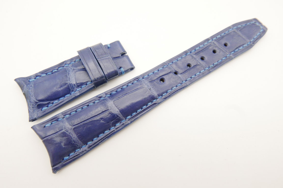 22mm/18mm Light Blue Genuine CROCODILE Skin Leather Curved End Deployment Strap For IWC #WT5015