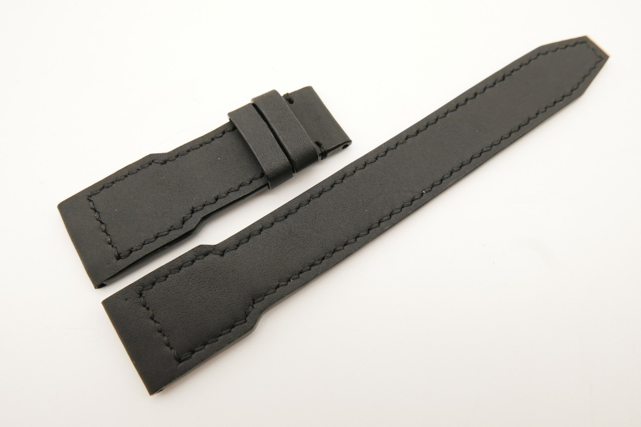 21mm/18mm Black Genuine SOMBRERO Skin Leather Watch Strap for IWC Pilot #WT5031