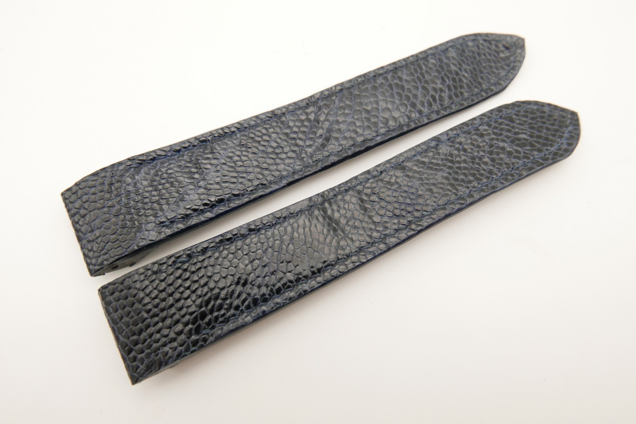 20mm Dark Navy Blue Genuine OSTRICH Skin Leather Deployment Strap for Cartier Santos #WT5032