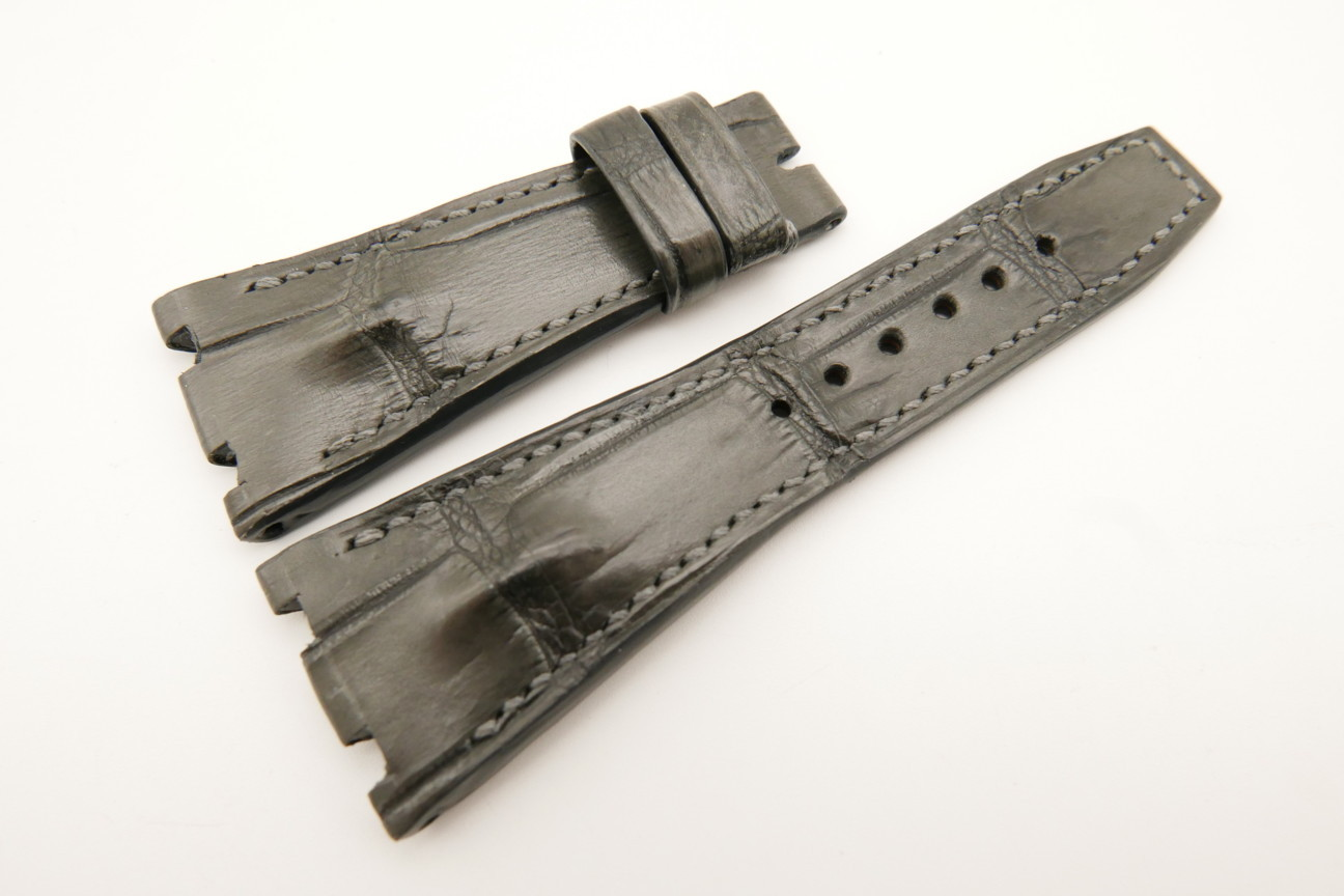 28mm/18mm Gray Genuine CROCODILE Skin Leather Watch Strap for Audemars Piguet 39mm & 41mm #WT5033