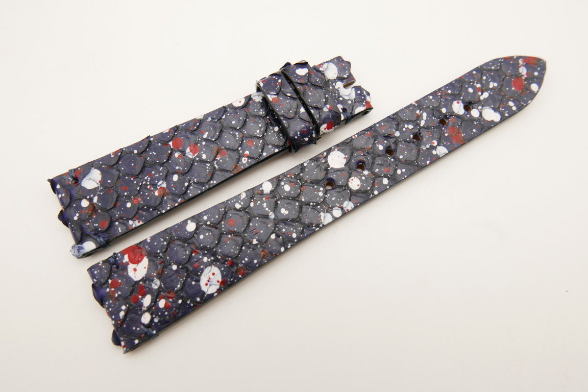 19mm/16mm Dark Navy Blue Genuine PYTHON Skin Leather Watch Strap #WT5036