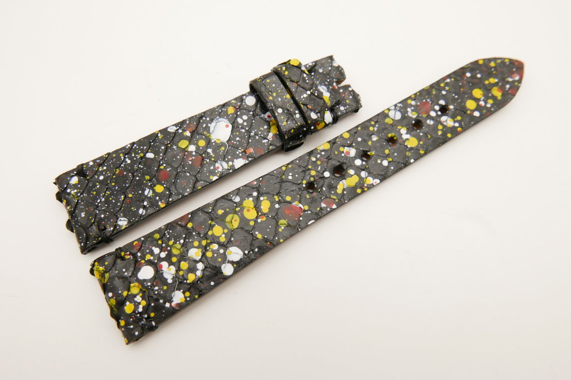 19mm/16mm Black Rainbow Genuine PYTHON Skin Leather Watch Strap #WT5038