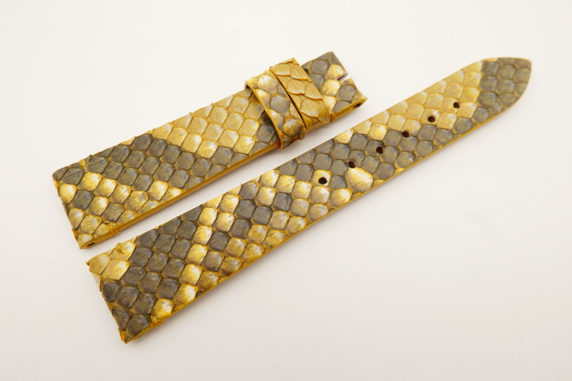 19mm/16mm Yellow Genuine PYTHON Skin Leather Watch Strap #WT5041