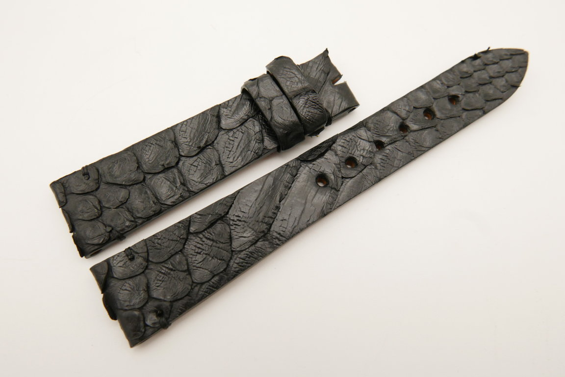 19mm/16mm Black Genuine PYTHON Skin Leather Watch Strap #WT5045