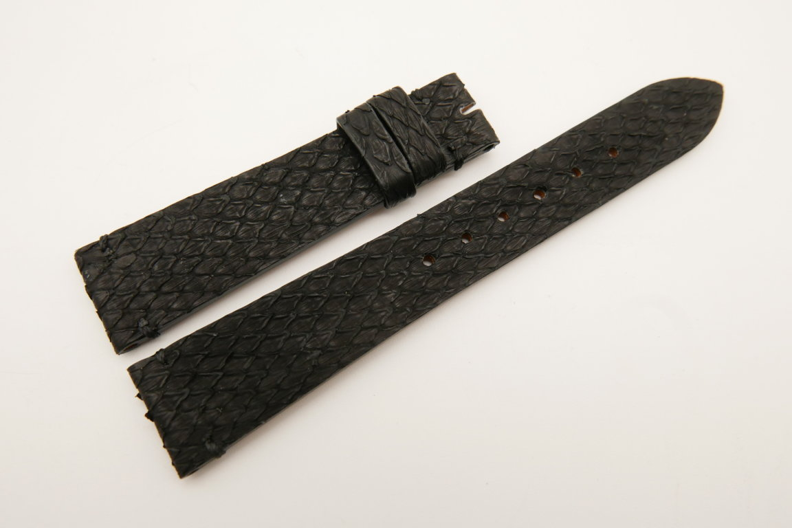 19mm/16mm Black Genuine PYTHON Skin Leather Watch Strap #WT5046