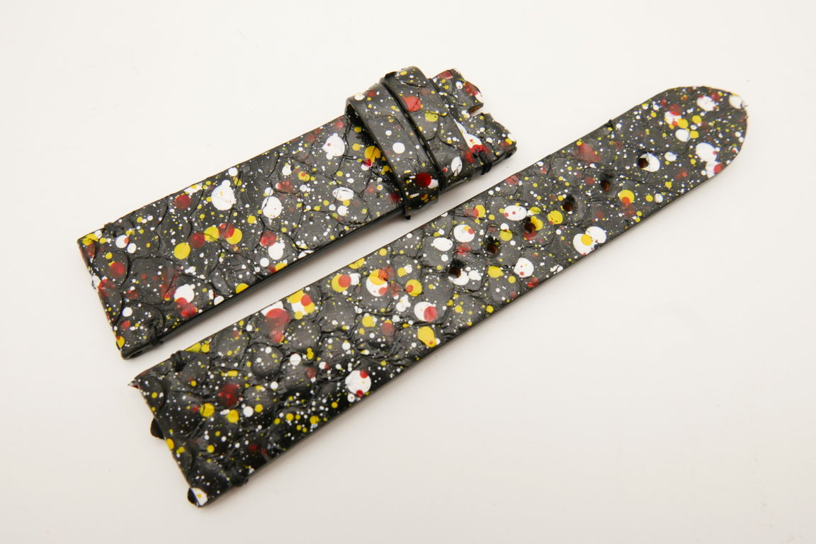 22mm/20mm Black Rainbow Genuine PYTHON Skin Leather Watch Strap #WT5068