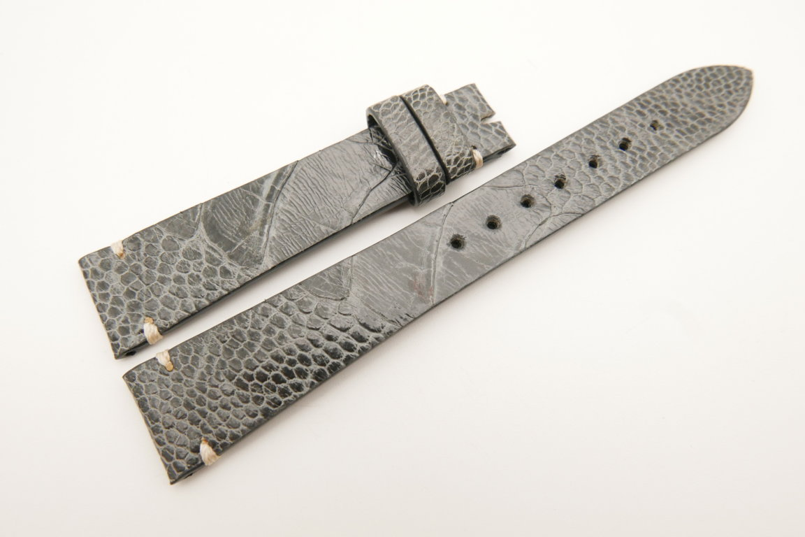 18mm/14mm Gray Genuine OSTRICH Skin Leather Watch Strap Band #WT5072