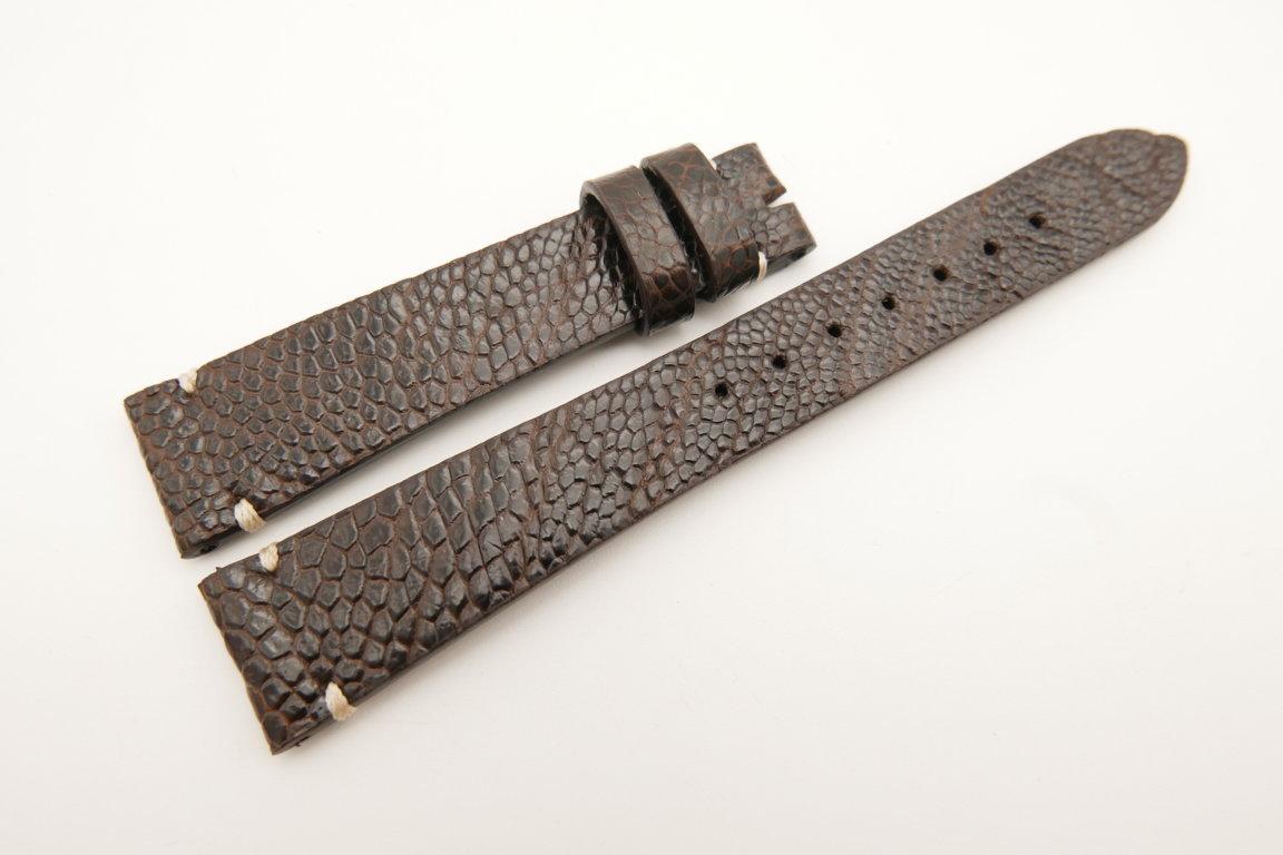 18mm/14mm Dark Brown Genuine OSTRICH Skin Leather Watch Strap Band #WT5073