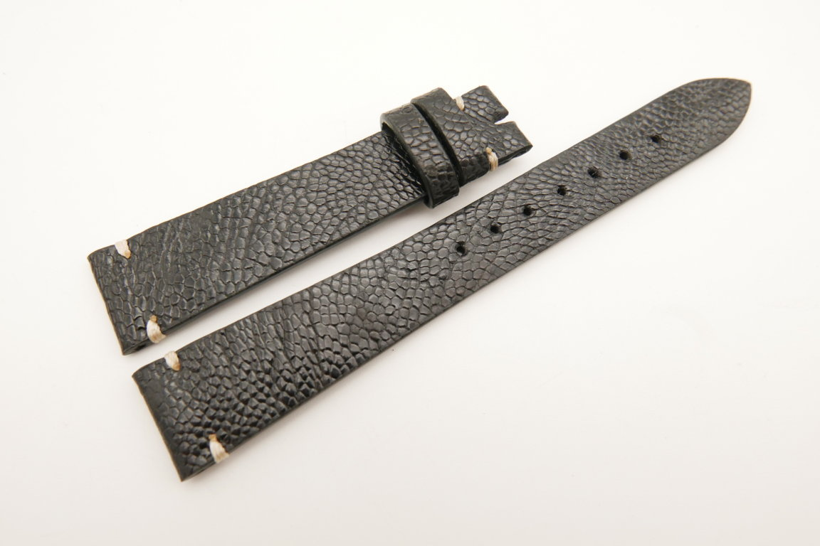 18mm/14mm Black Genuine OSTRICH Skin Leather Watch Strap Band #WT5076
