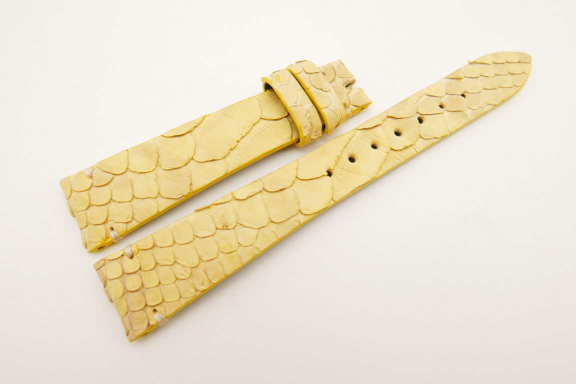 18mm/14mm Yellow Genuine PYTHON Skin Leather Watch Strap Band #WT5086