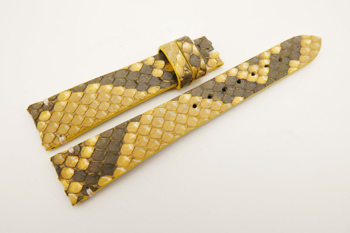 18mm/14mm Yellow Genuine PYTHON Skin Leather Watch Strap Band #WT5087