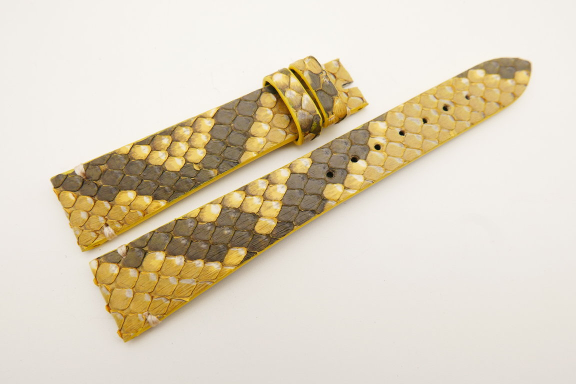18mm/14mm Yellow Genuine PYTHON Skin Leather Watch Strap Band #WT5088