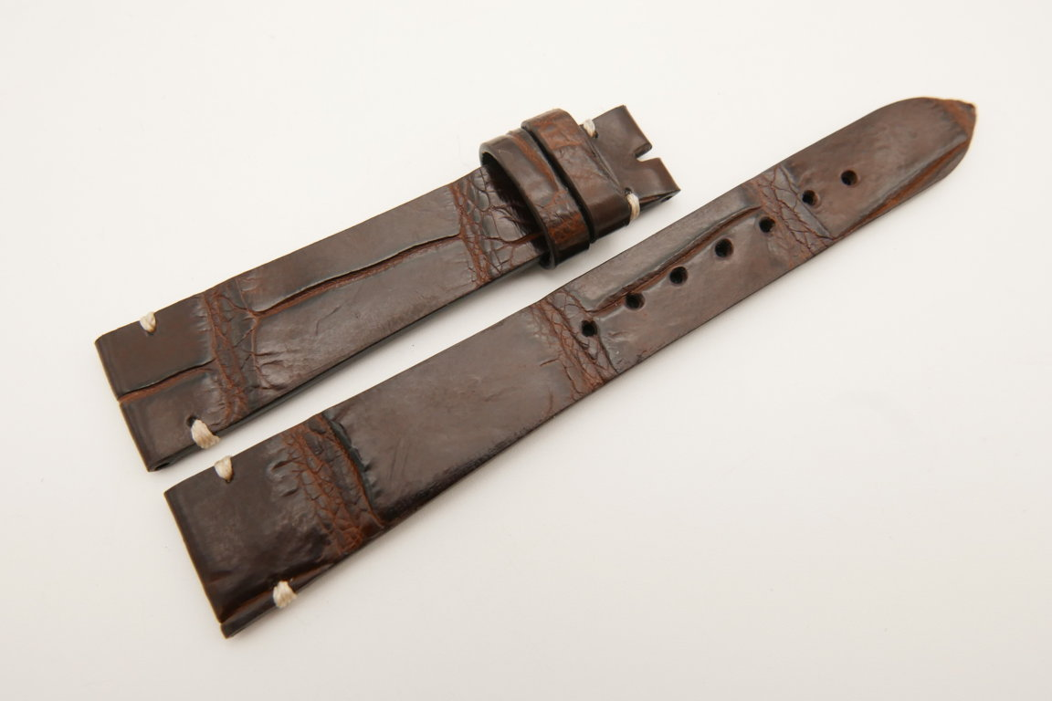 18mm/14mm Dark Brown Genuine CROCODILE Skin Leather Watch Strap Band #WT5097