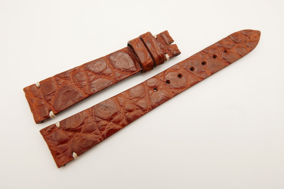 18mm/14mm Red Brown Genuine CROCODILE Skin Leather Watch Strap Band #WT5102
