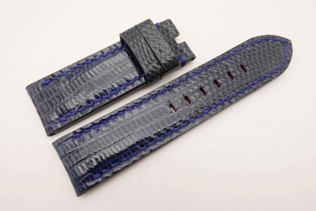 24mm/24mm Dark Navy Blue Genuine LIZARD Skin Leather Watch Strap for Panerai #WT5120
