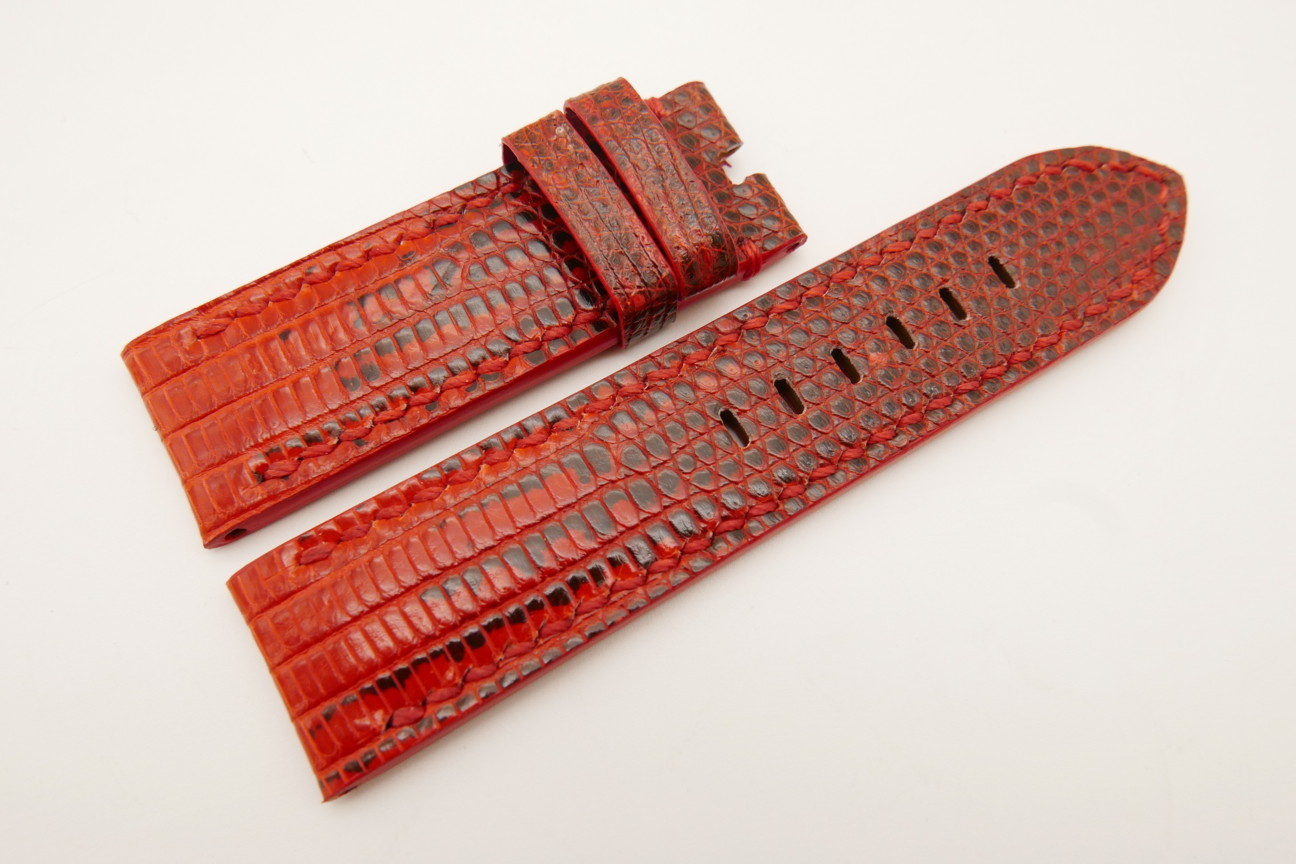24mm/24mm Red Genuine LIZARD Skin Leather Watch Strap for Panerai #WT5123