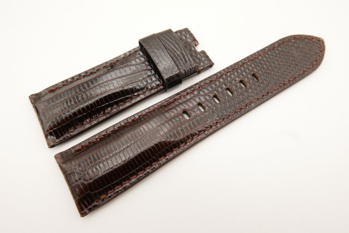 24mm/22mm Dark Brown Genuine LIZARD Skin Leather Watch Strap for Panerai #WT5147
