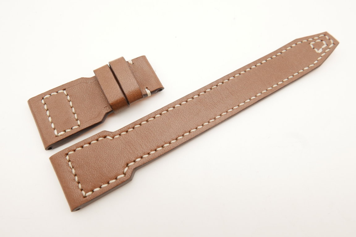 22mm/18mm Light Brown Genuine Italian Calf Skin Leather Watch Strap For IWC #WT5153