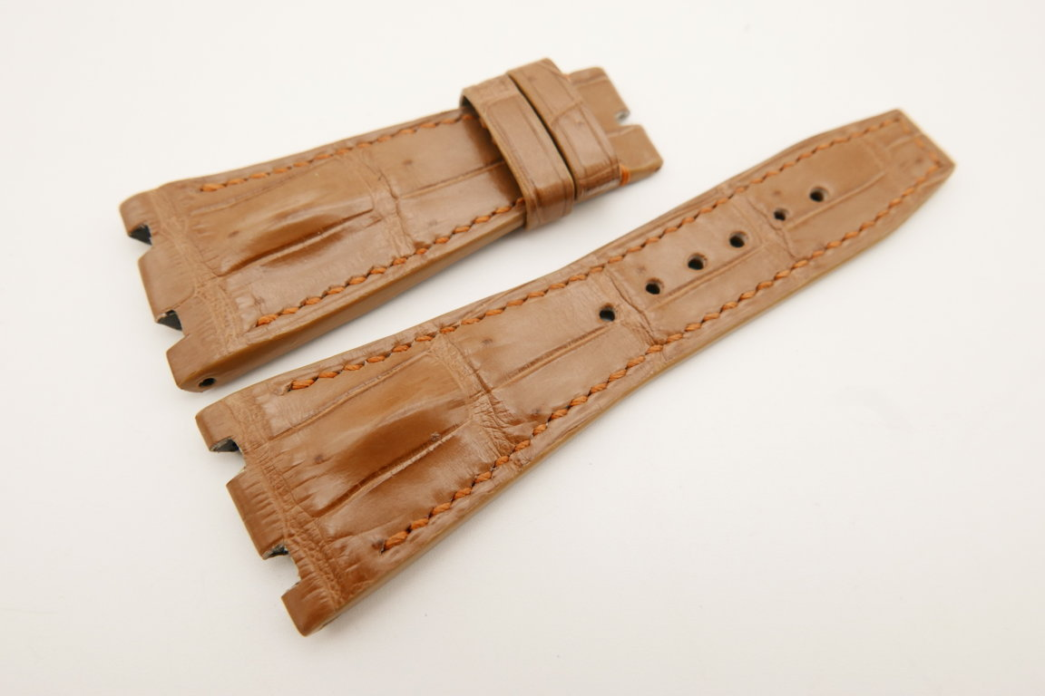 28mm/18mm Light Brown Genuine CROCODILE Skin Leather Watch Strap for Audemars Piguet 39mm & 41mm #WT5158