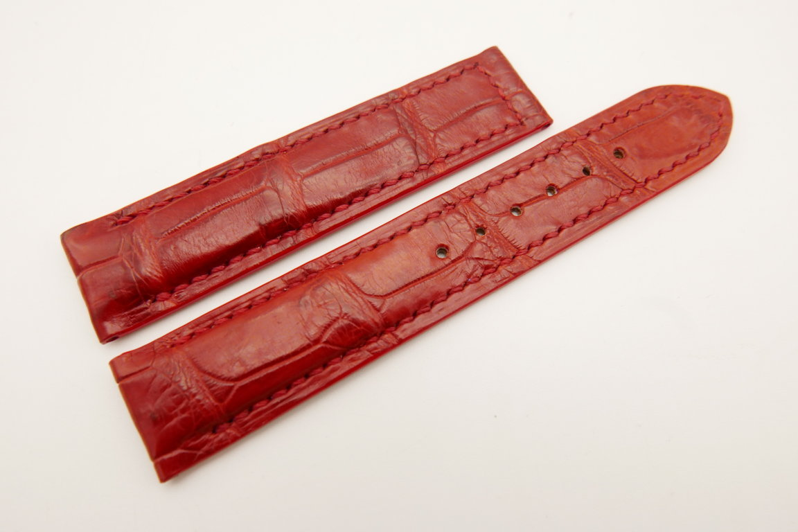 18mm/18mm Red Genuine CROCODILE Skin Leather Deployment Strap for OMEGA Watch #WT5161