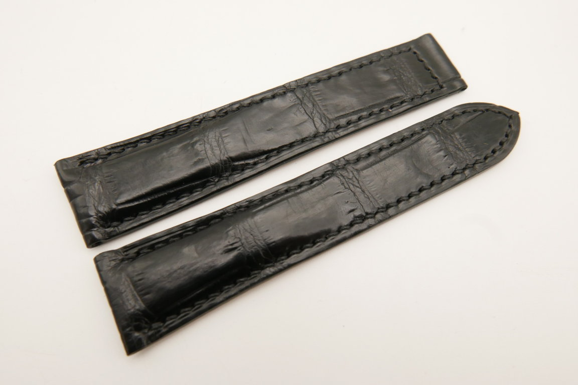 20mm/18mm Black Genuine CROCODILE Skin Leather Deployment Strap for OMEGA Watch #WT5162