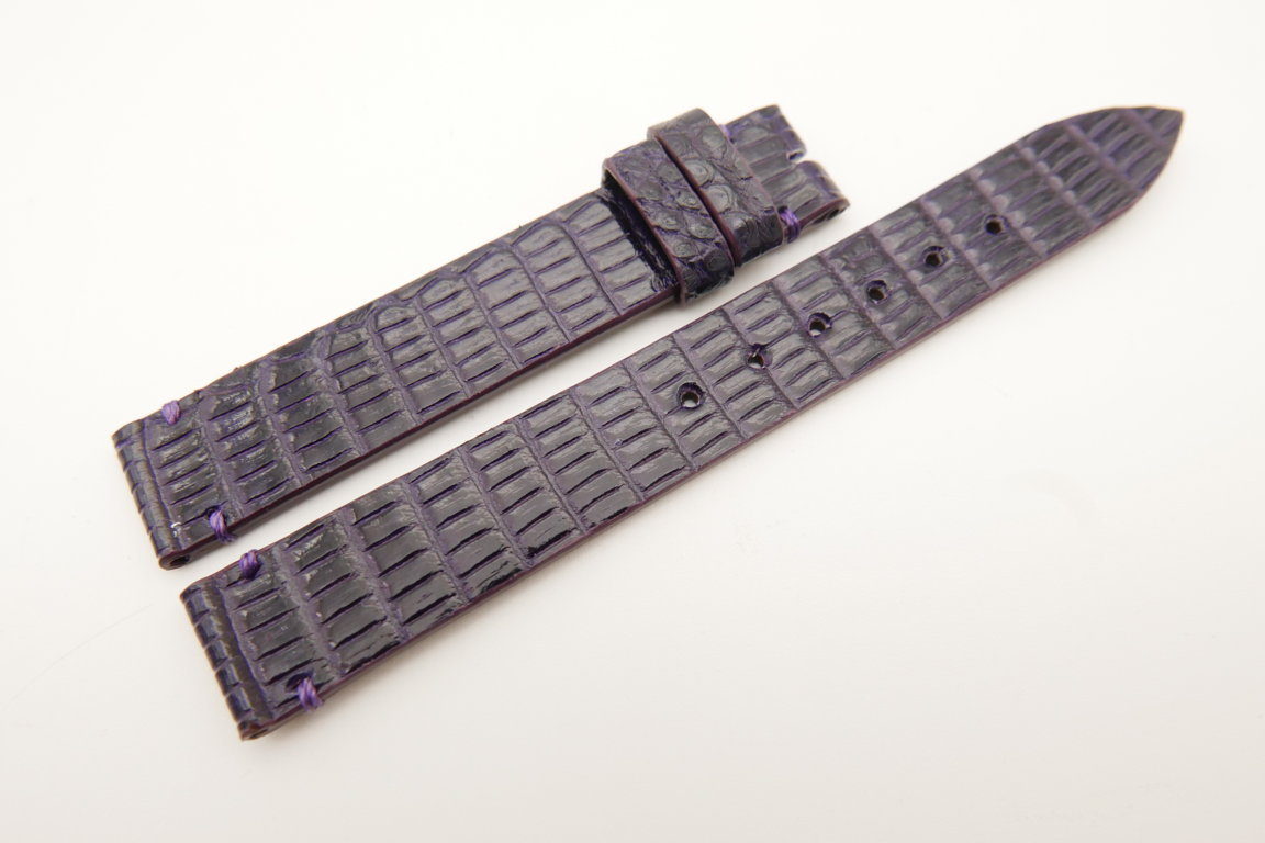 14mm/14mm Purple Genuine LIZARD Skin Leather Watch Strap Band #WT5163
